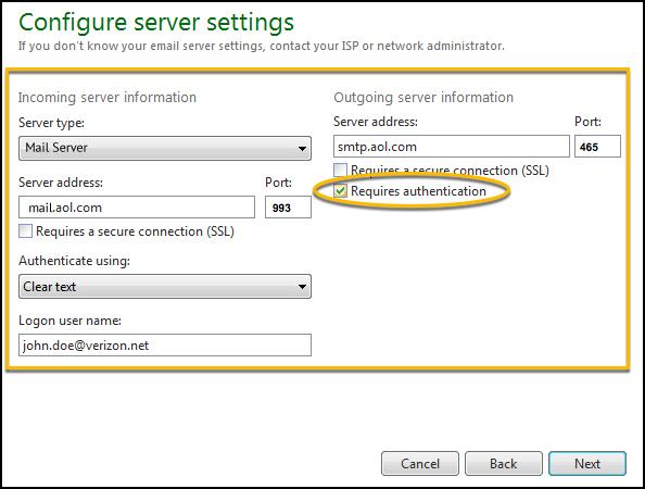 Setup AOL Mail Server