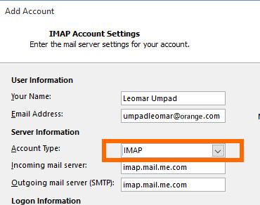 Setup ORANGE Mail Using IMAP