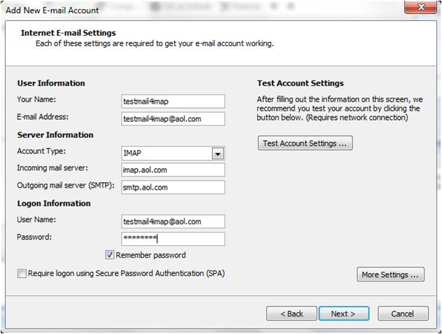 Setup Outlook Mail Using IMAP