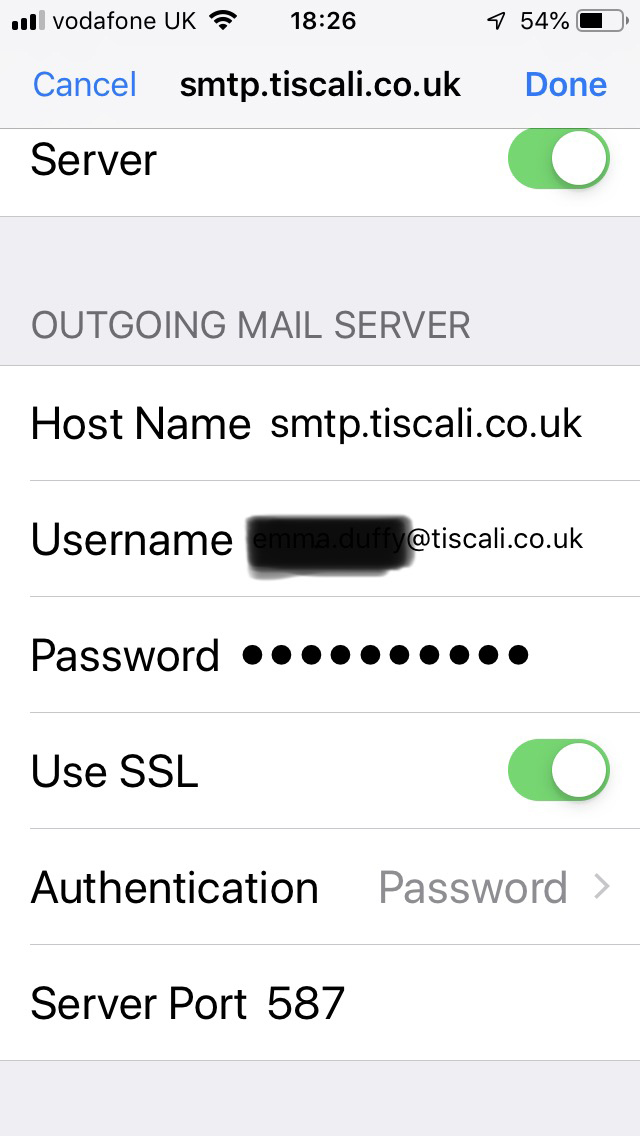 Setup Tiscali Mail Server