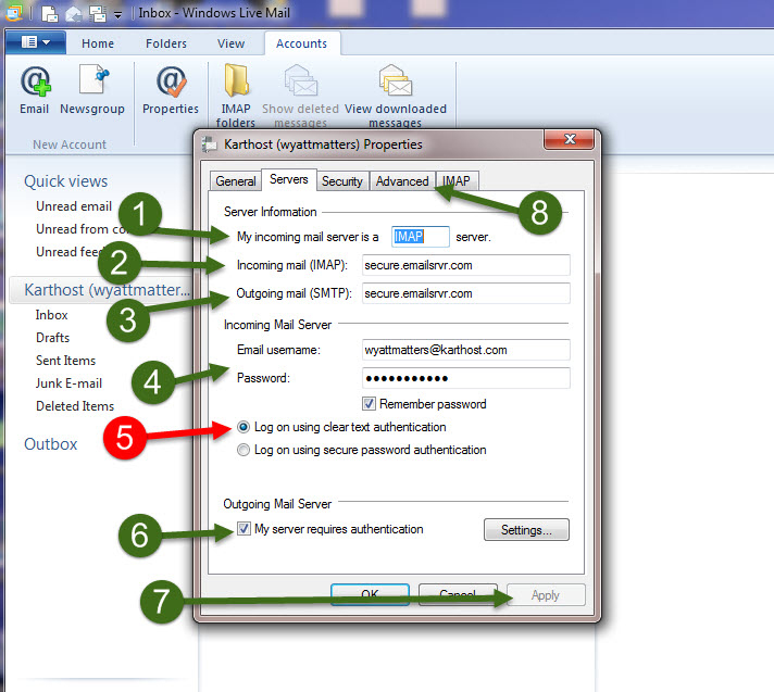 Setup Windows Live Mail Using IMAP