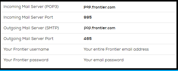 Setup Frontier Mail Using POP
