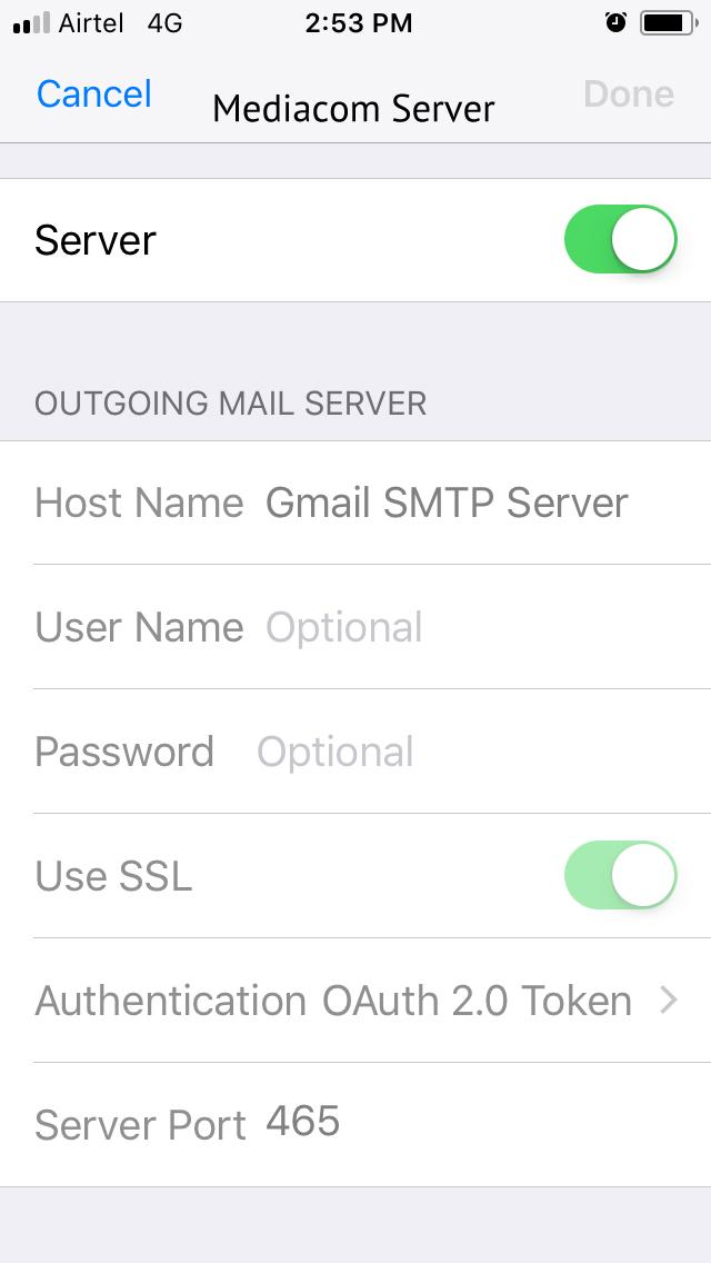 Mediacom Mail Server
