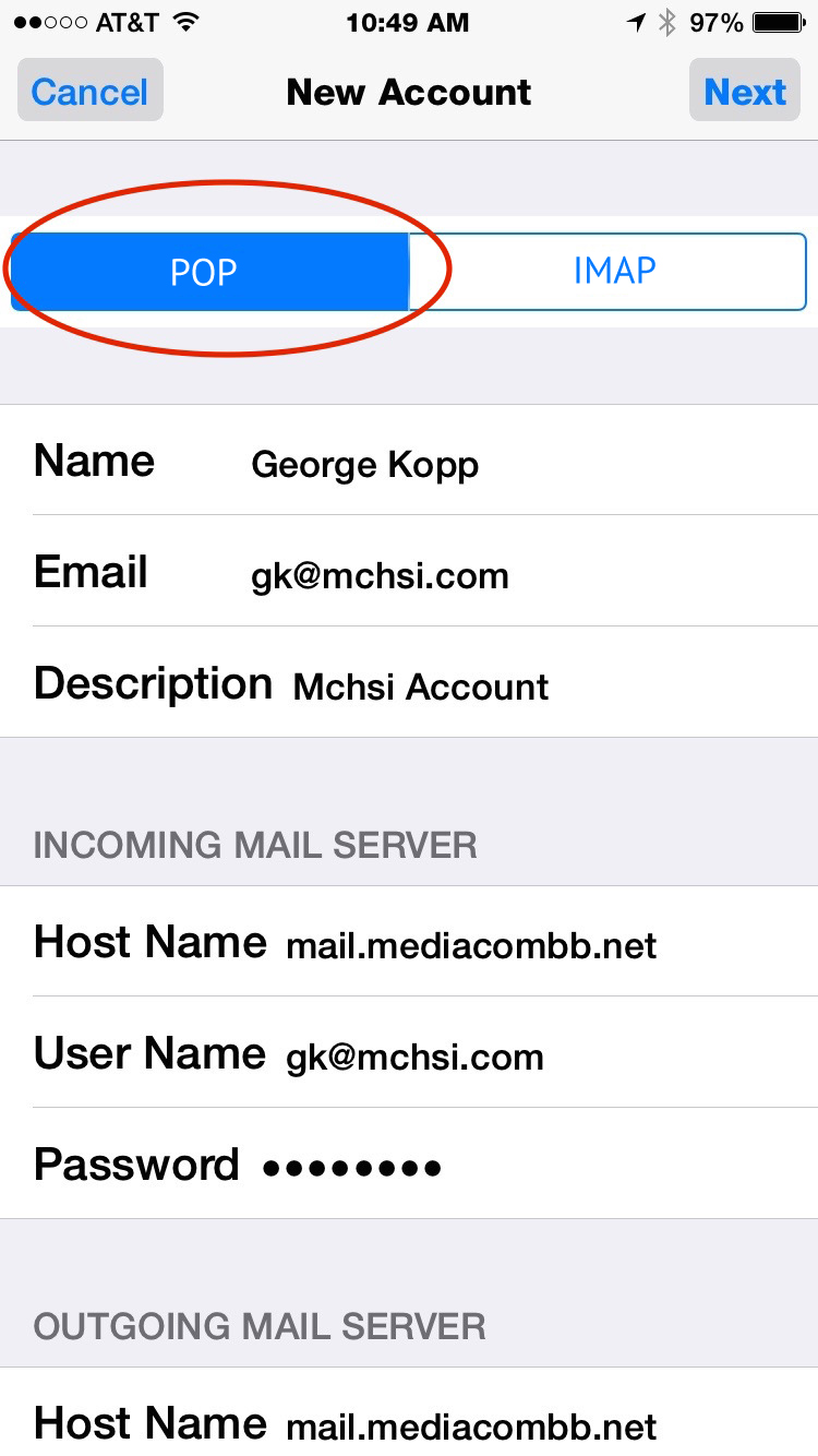 Setup Mediacom Mail In iPhone Using POP